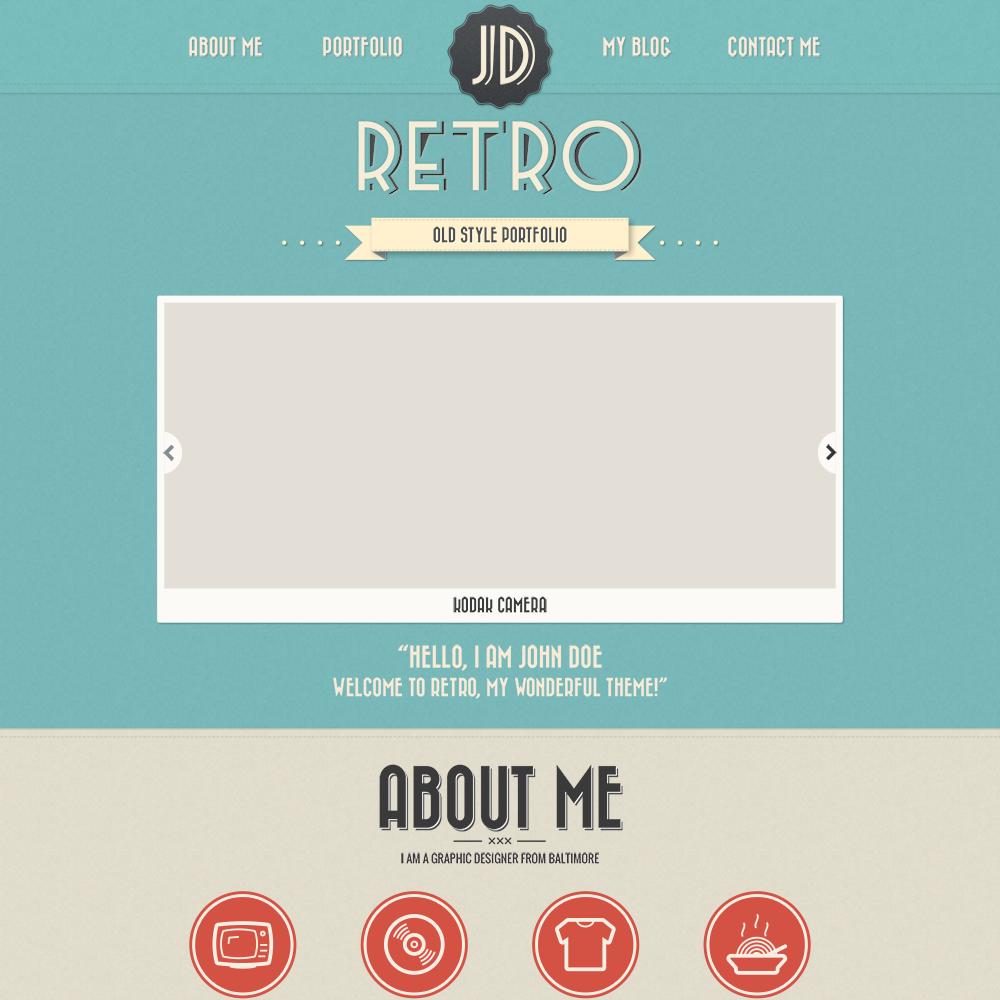 Free Retro PSD Portfolio Template