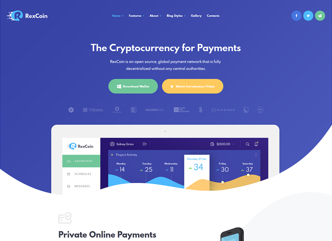 RexCoin - A Multi-Purpose Cryptocurrency & Coin ICO WordPress Theme