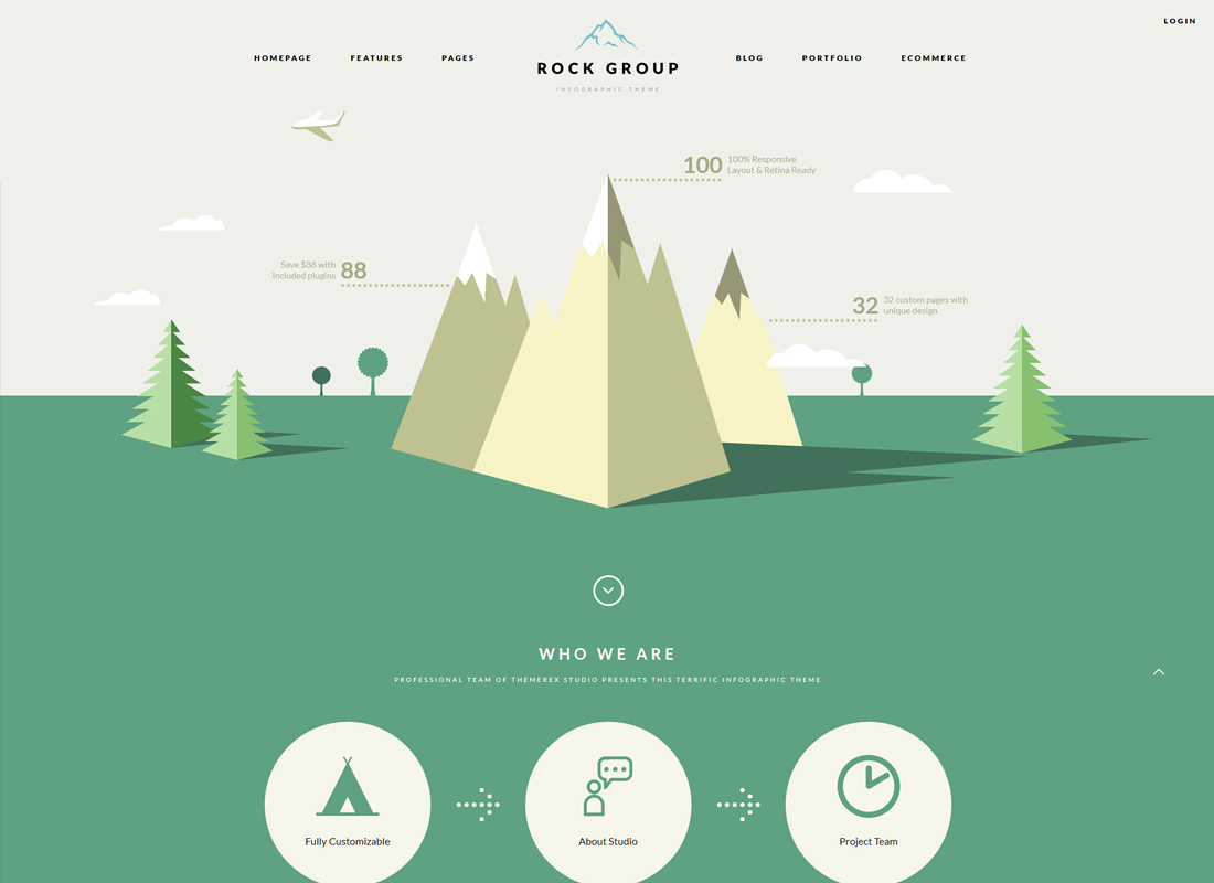 Rock Group - A Flat Multipurpose Infographic WordPress Theme