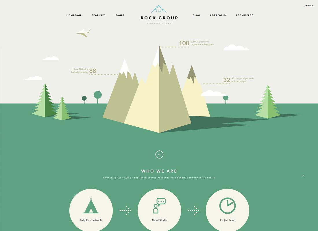 Rock Group - A Flat Multipurpose Infographic WordPress Theme