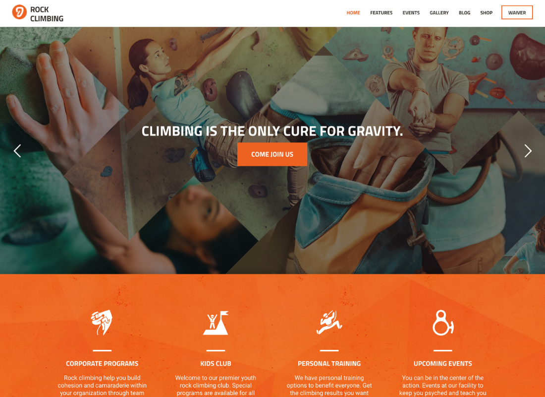 Rock & Wall Climbing | Sport Club WordPress Theme