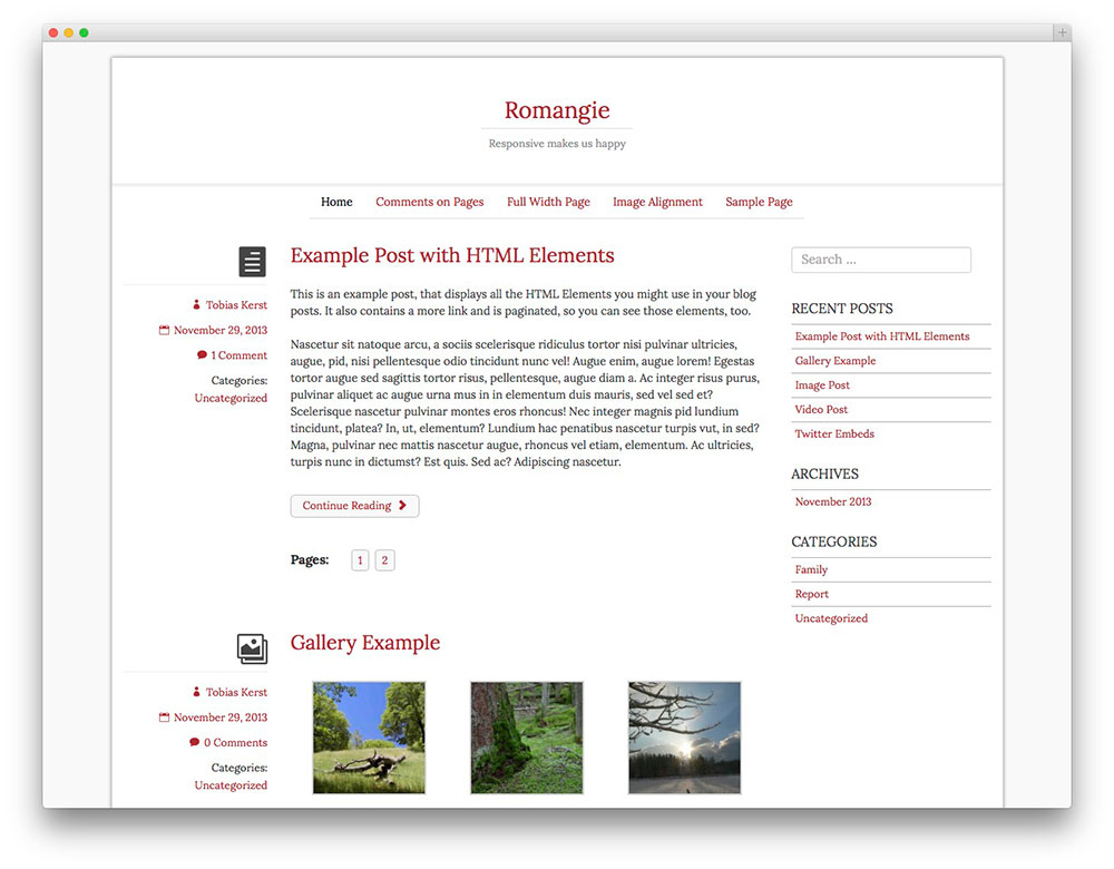 Romangie - blog theme