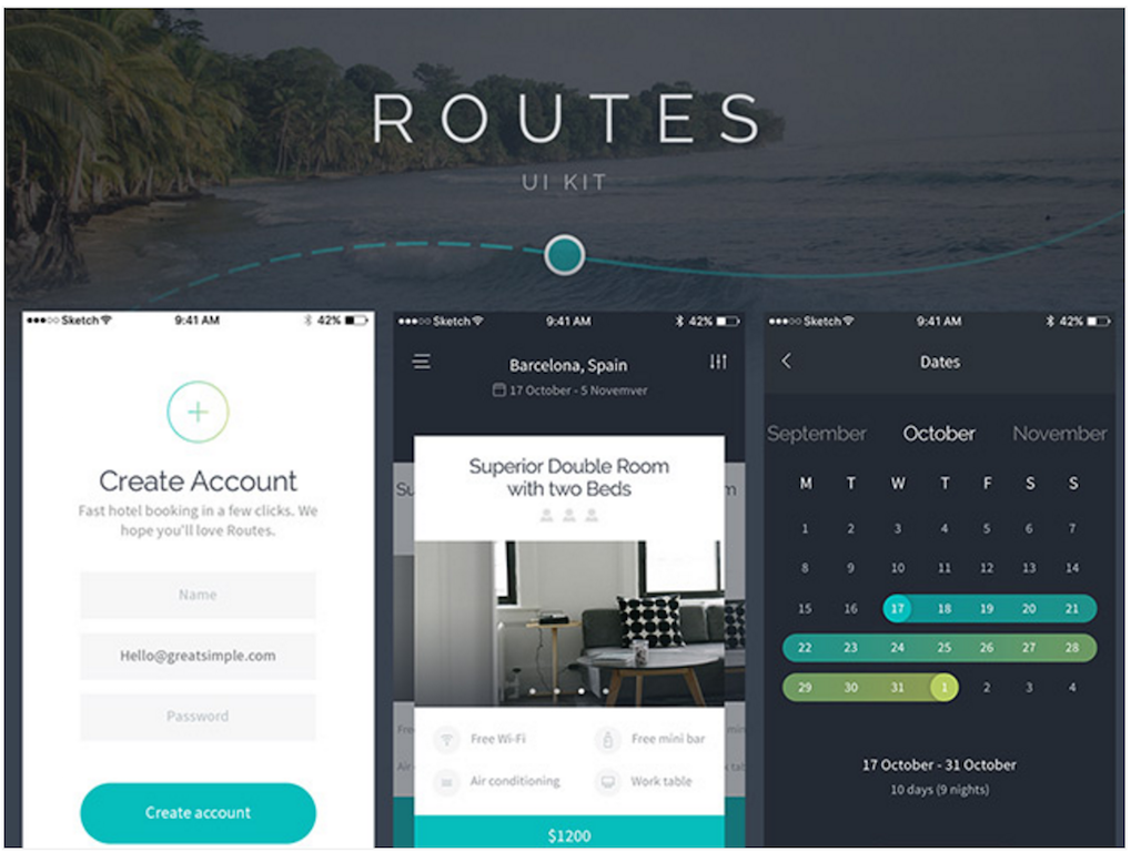 Routes UI kit for iOS