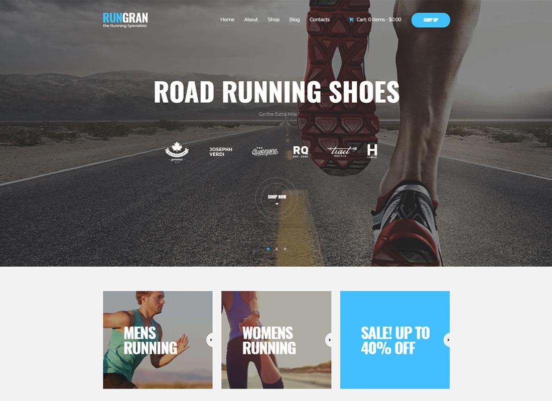 Run Gran | Sports Apparel & Gear Store WordPress Theme
