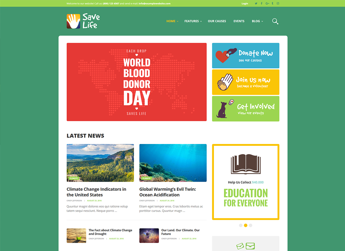 Save Life - Non-Profit, Charity & Donations WordPress Theme