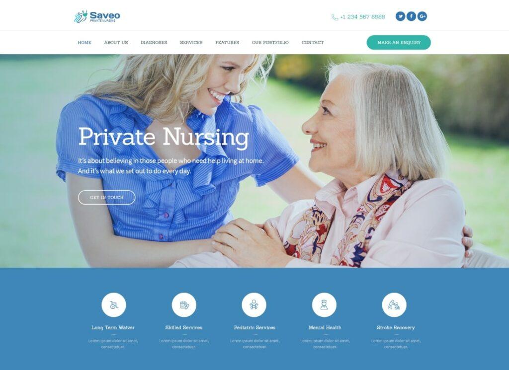 Saveo   In-home Care & Private Nursing Agency WordPress Theme