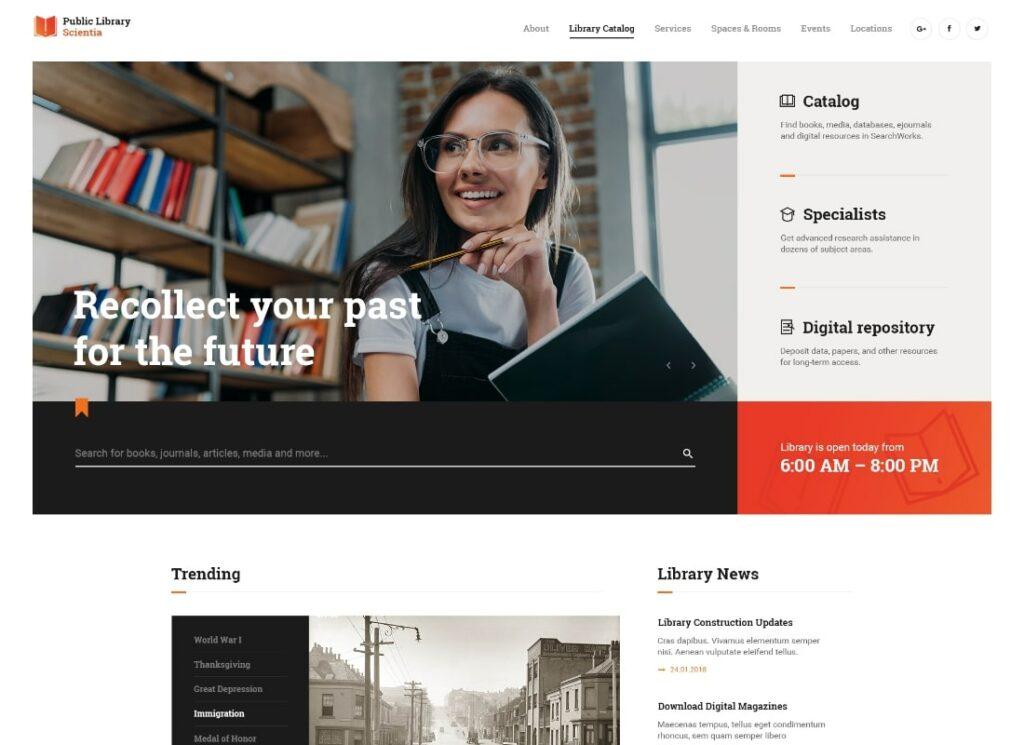 Scientia   Public Library & Book Store Education WordPress Theme