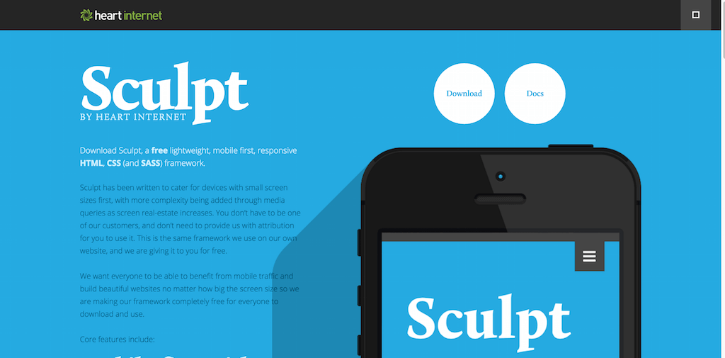 Sculpt. A free responsive framework from Heart Internet
