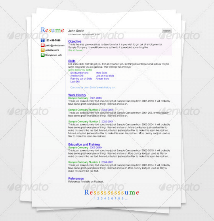 Search Engine Resume GraphicRiver
