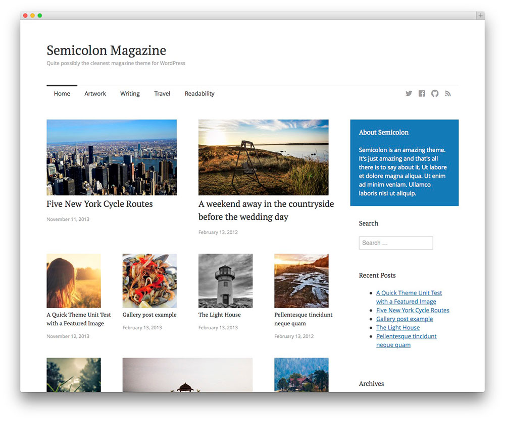 Semicolon - free magazine theme
