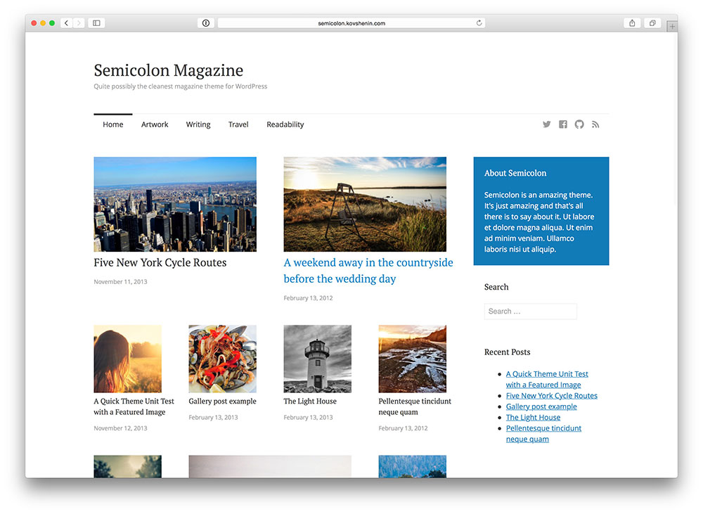 Semicolon - Clean Magazine theme