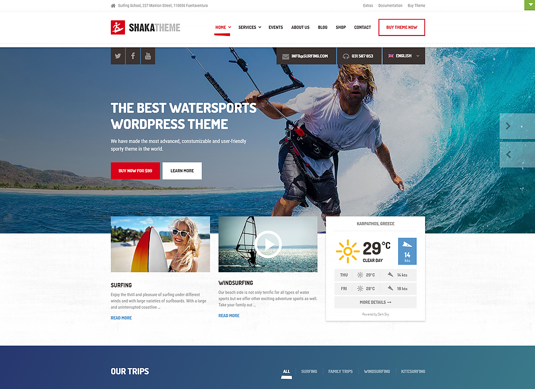 A beach business WordPress theme for water sport and activity schools