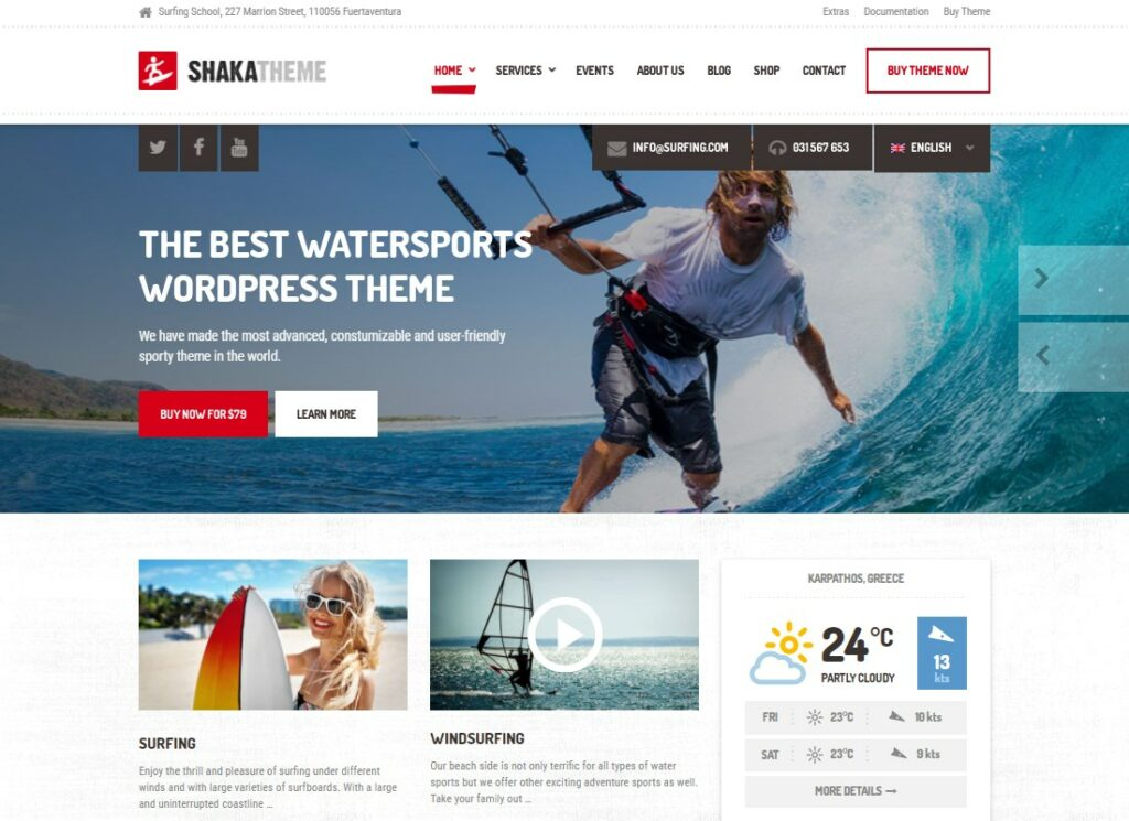 Shaka | A Beach Business WordPress Theme for Water Sport and Activity Schools, Surf, Kayak