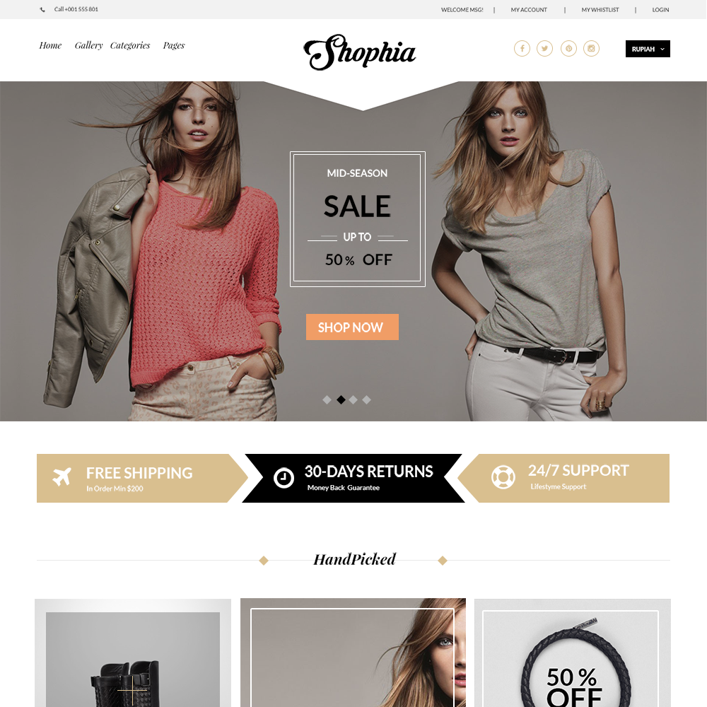 Shophia Free PSD eCommerce Template