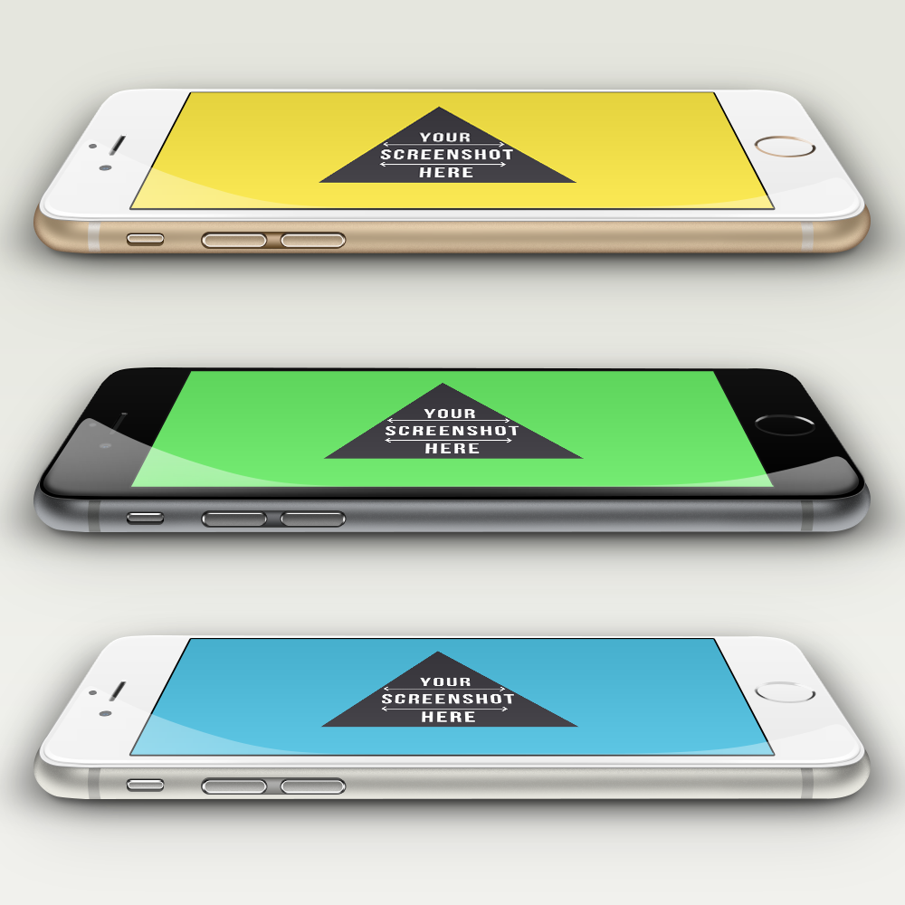 Free PSD iPhone 6 Mockup Template Sideview
