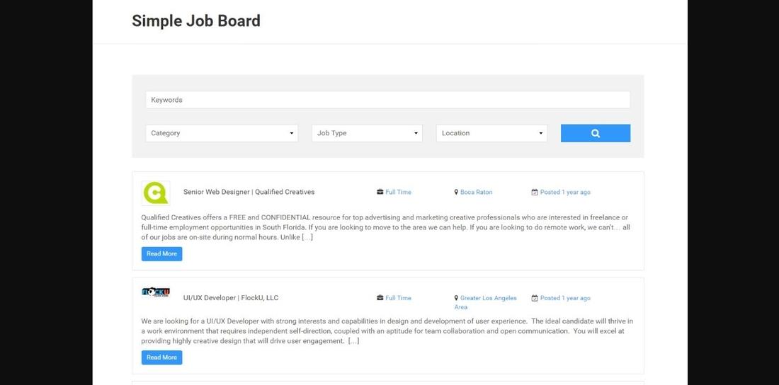 Simple Job Board demo page