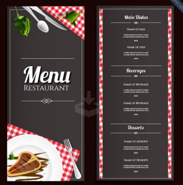 Simple Restaurant Menu Template  A La Carte Menu Template