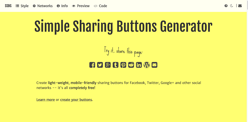 Simple Sharing Buttons Generator