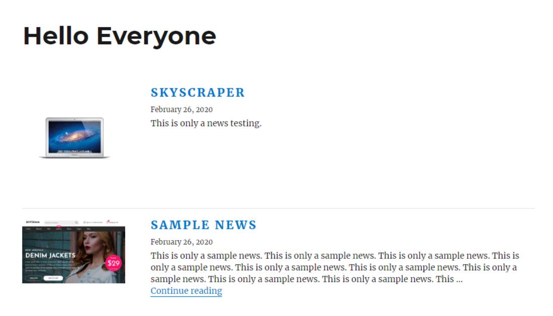 Simple News WordPress News Plugin Preview Screenshot