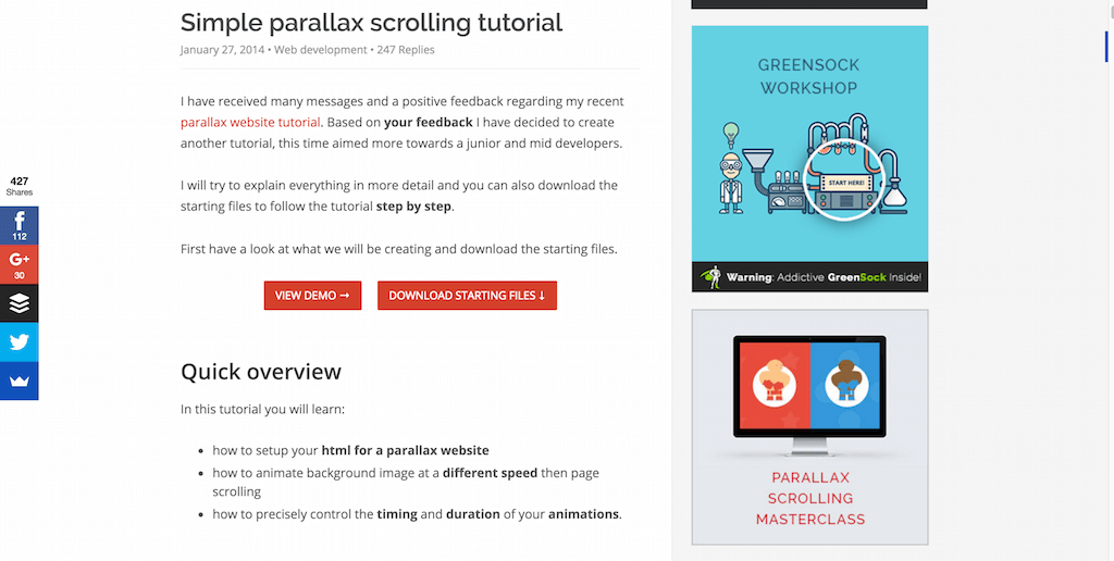 Simple parallax scrolling tutorial