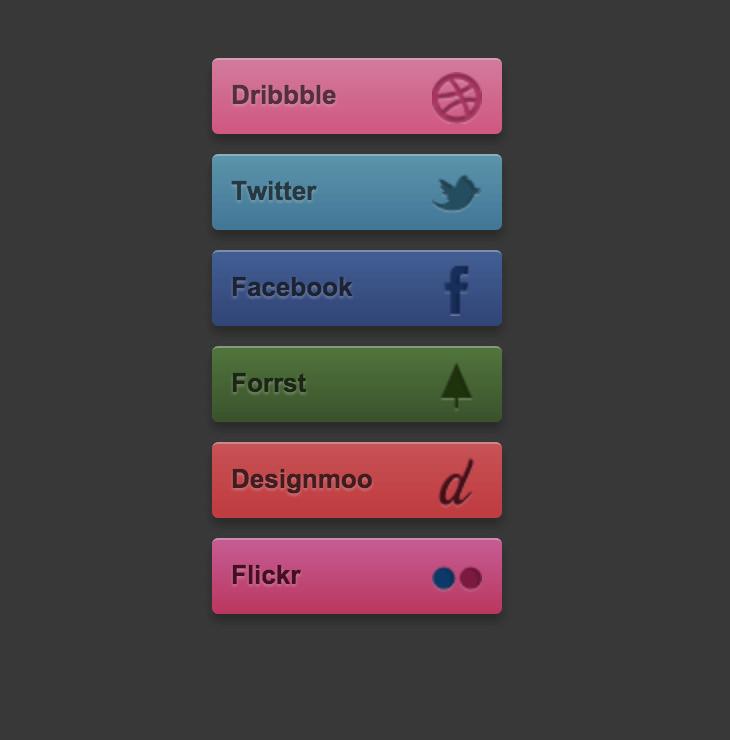 Simplistic CSS Social Buttons