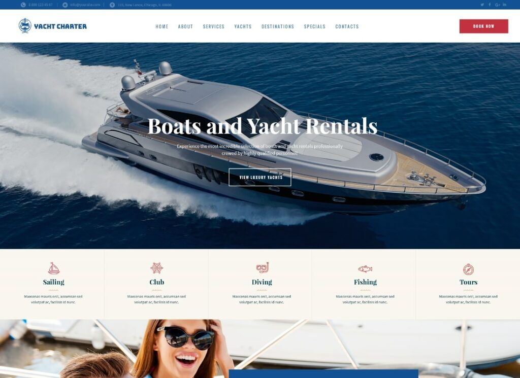 Sirene   Yacht Charter Services & Boat Rental WordPress Theme
