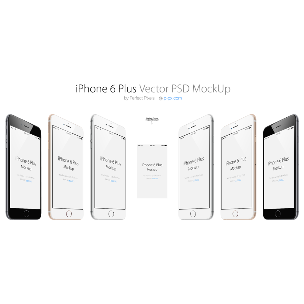 Free PSD iPhone 6 Mockup SIx View Template