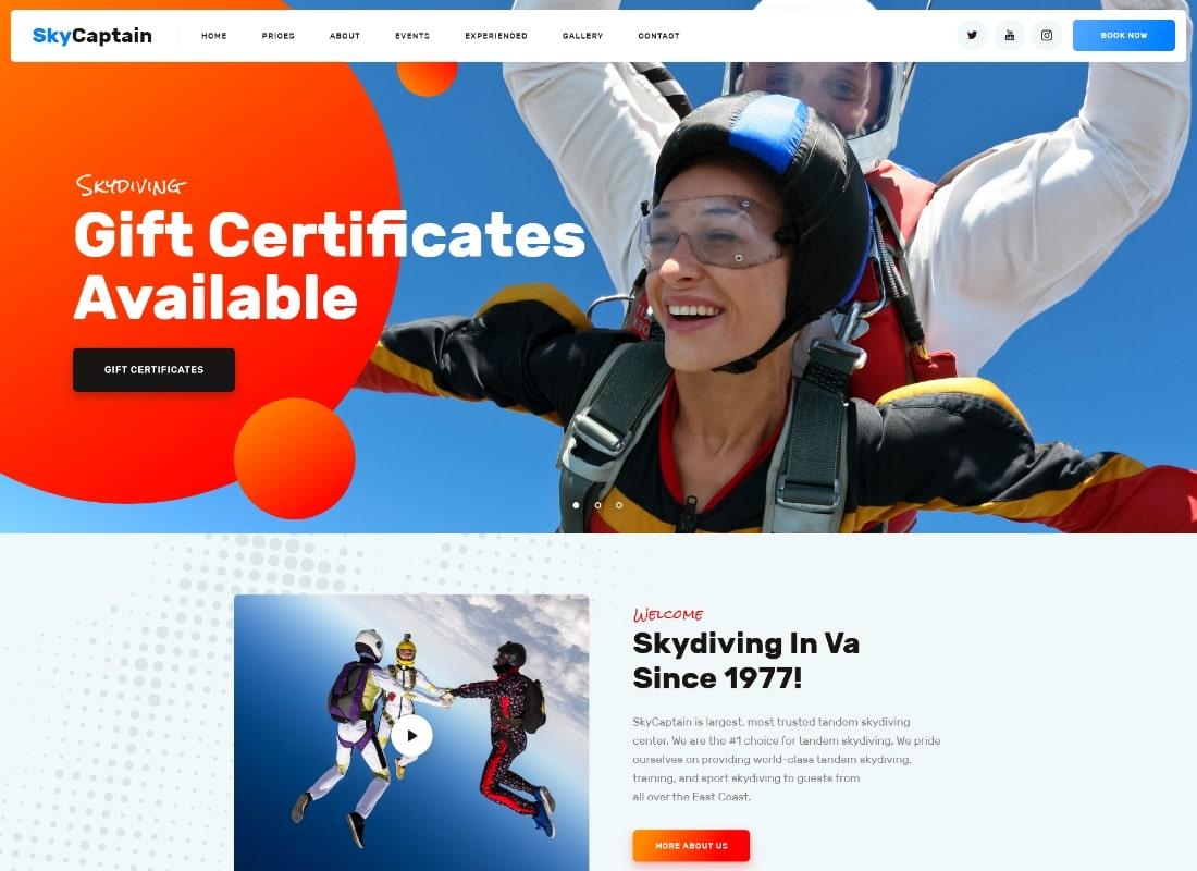 SkyCaptain | Skydiving & Extreme Flying Sports WordPress Theme