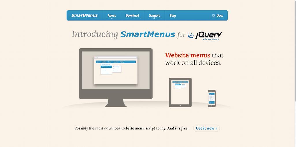 SmartMenus jQuery Website Menu Plugin Mobile first Responsive and Accessible List Based JavaScript Menu