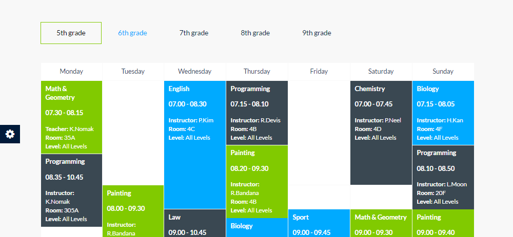 Smarty Theme Review Timetable
