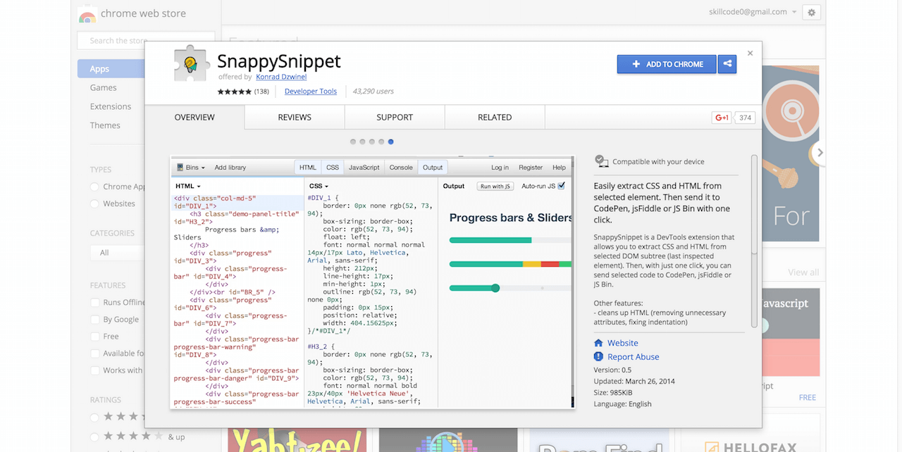 SnappySnippet Chrome Web Store