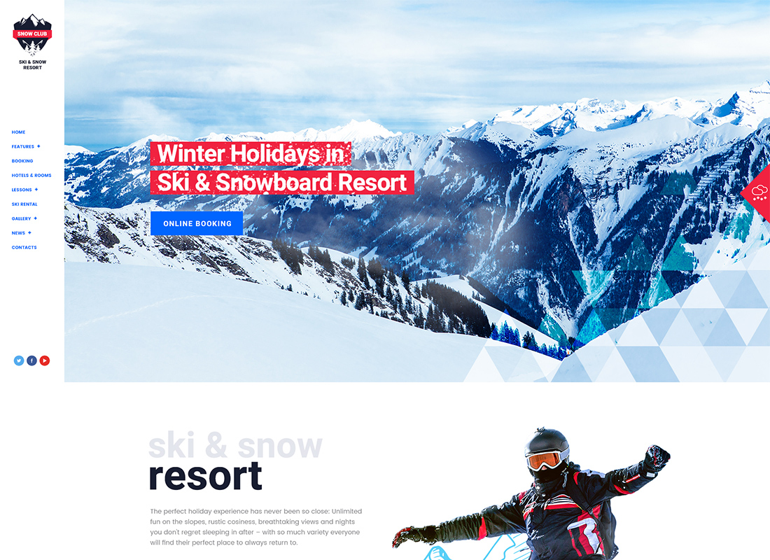 Snow Club - Ski Resort and Snowboard Classes WordPress Theme
