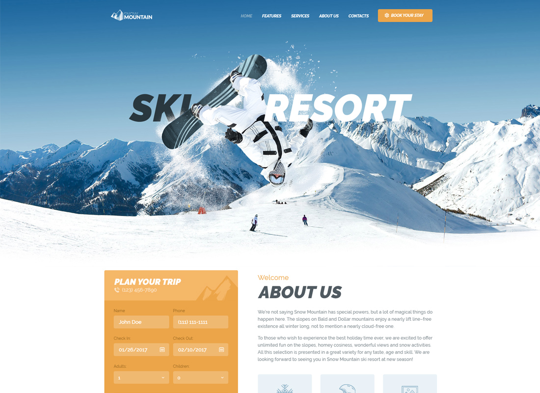 Snow Mountain - Ski Resort & Snowboard School WordPress Theme