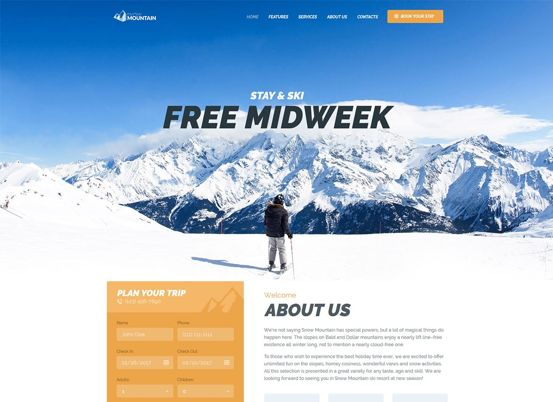 Snow Mountain | Ski Resort & Snowboard School Luxury WordPress Theme