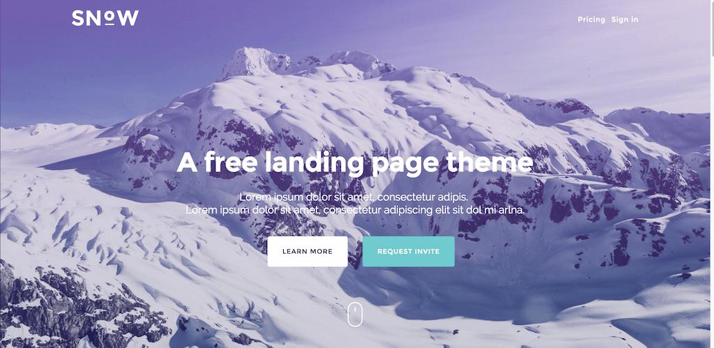 Snow landing page