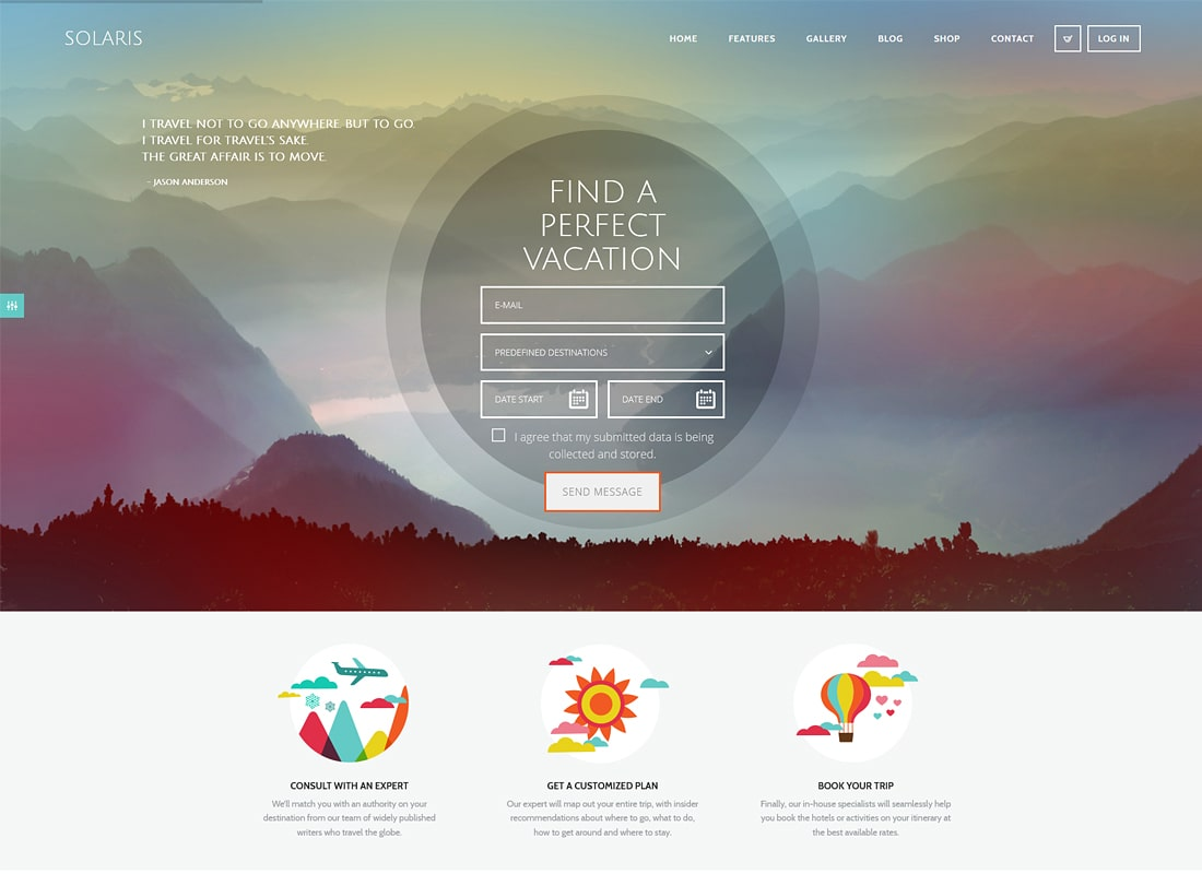 Solaris | Travel Agency Luxury WordPress Theme