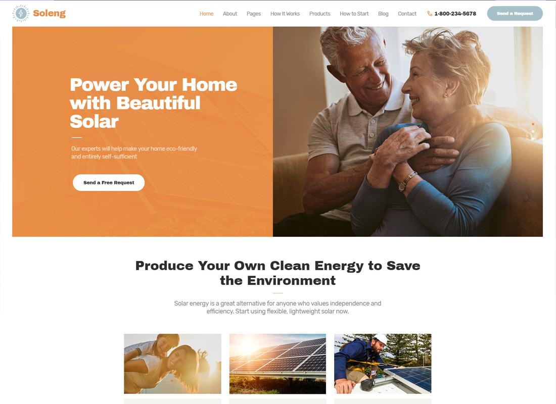 Soleng - A Solar Energy Company WordPress Theme