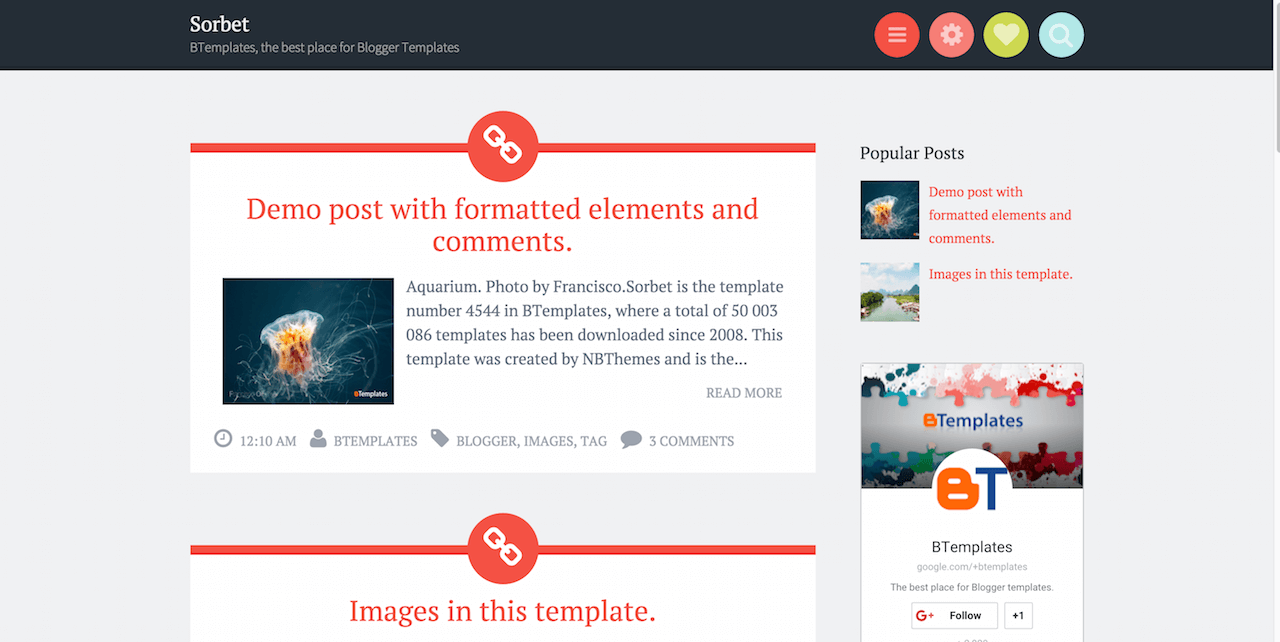sorbet blogger template btemplates