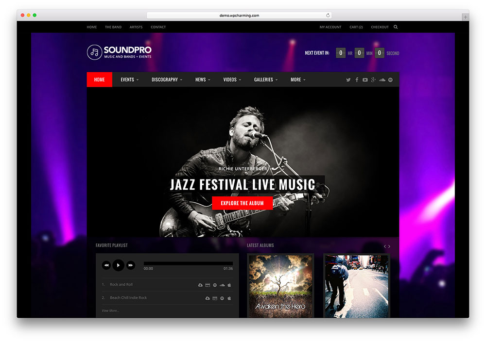 18 best responsive html5 music website templates 2018 for Best art websites for artists