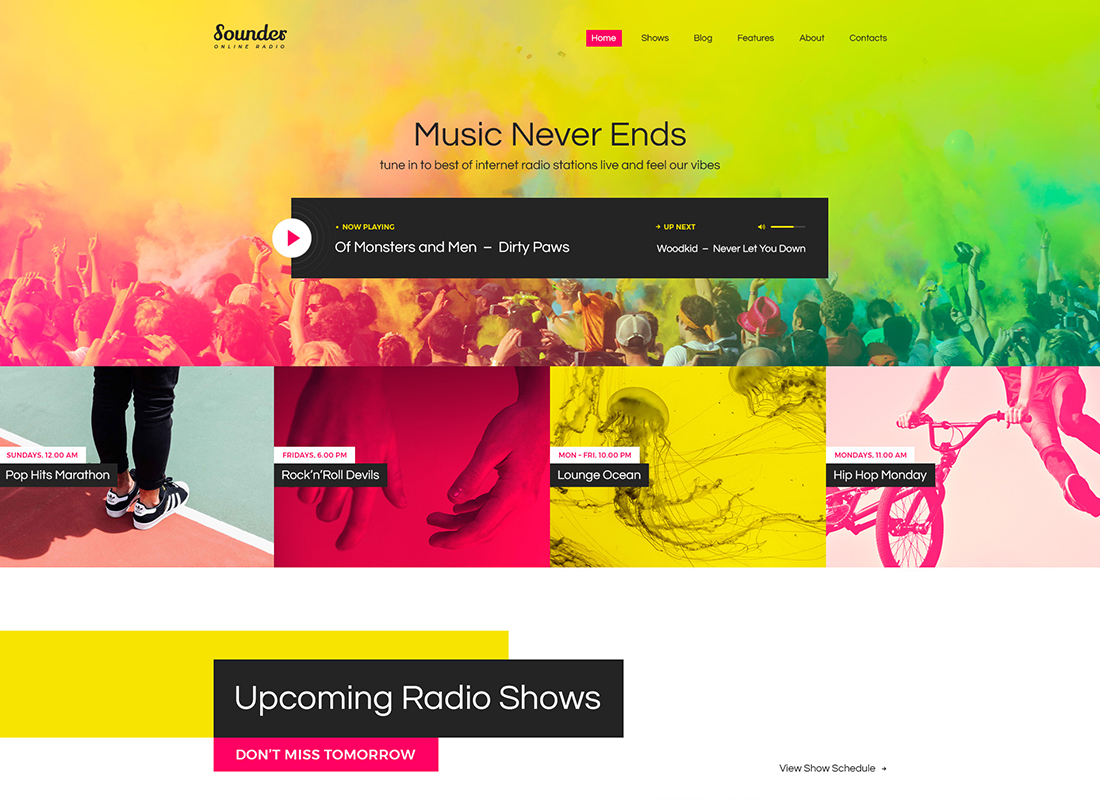 Sounder - Online Radio WordPress Theme