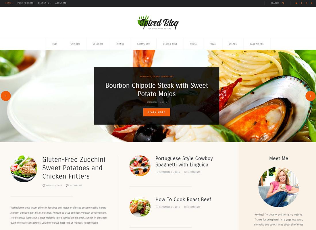 Spiced Blog - A Crisp Recipes & Food Personal Blog WordPress Theme