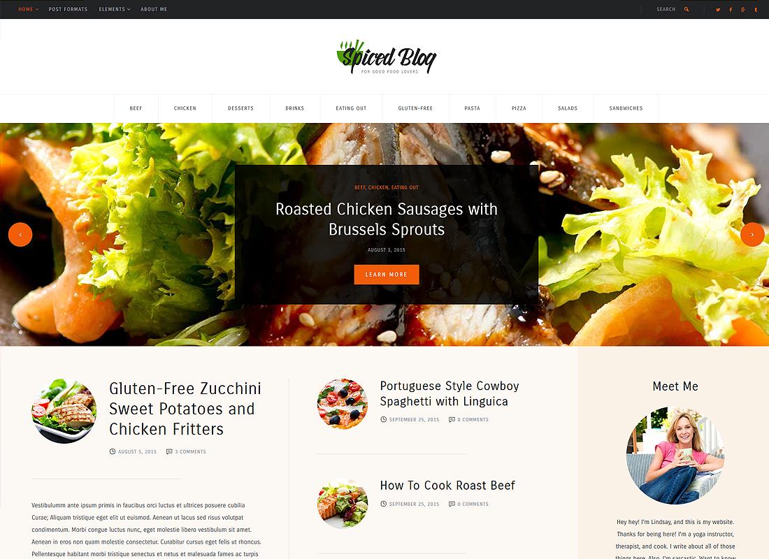 Spiced Blog | A Crisp Recipes & Food Personal Blog WordPress Theme