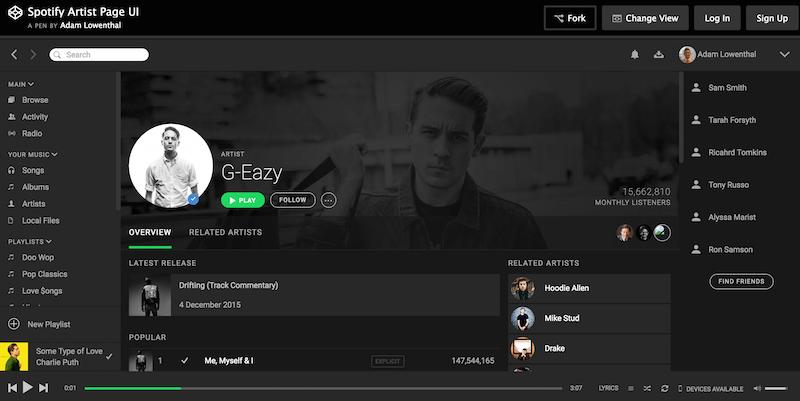 Spotify Artist Page UI