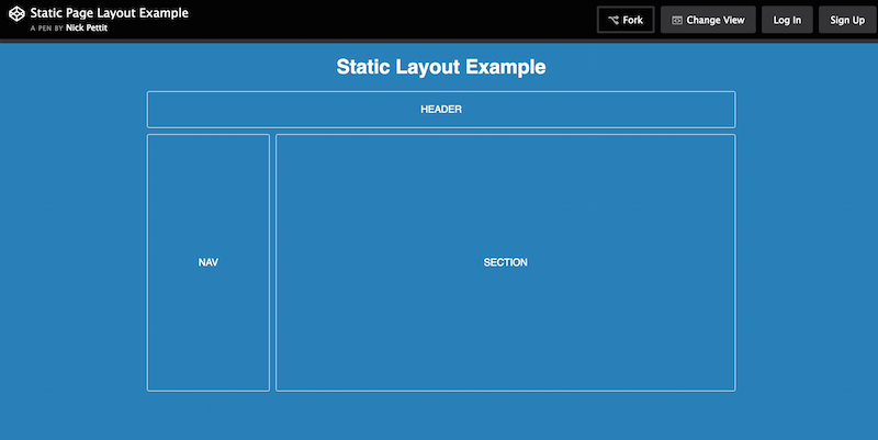 Static Page Layout Example
