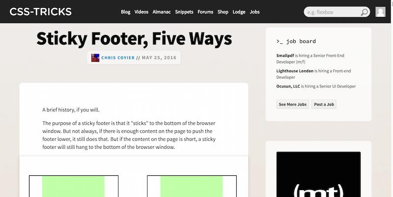 Sticky Footer, Five Ways