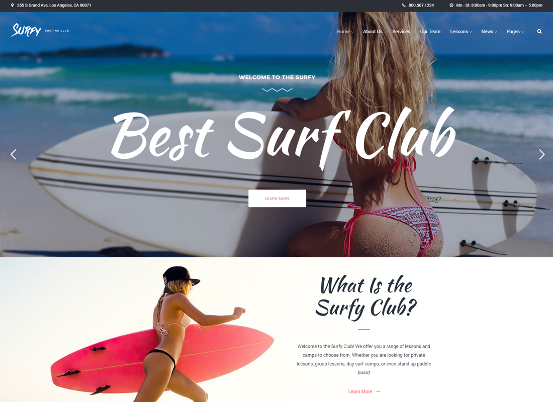Surfy | Surf School Lessons and Clubs WordPress Theme