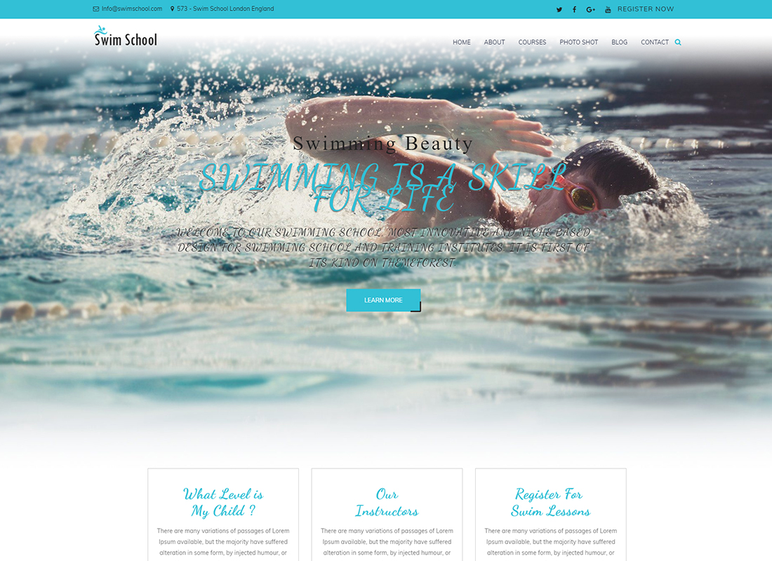 Swim School | Swimming WordPress Theme