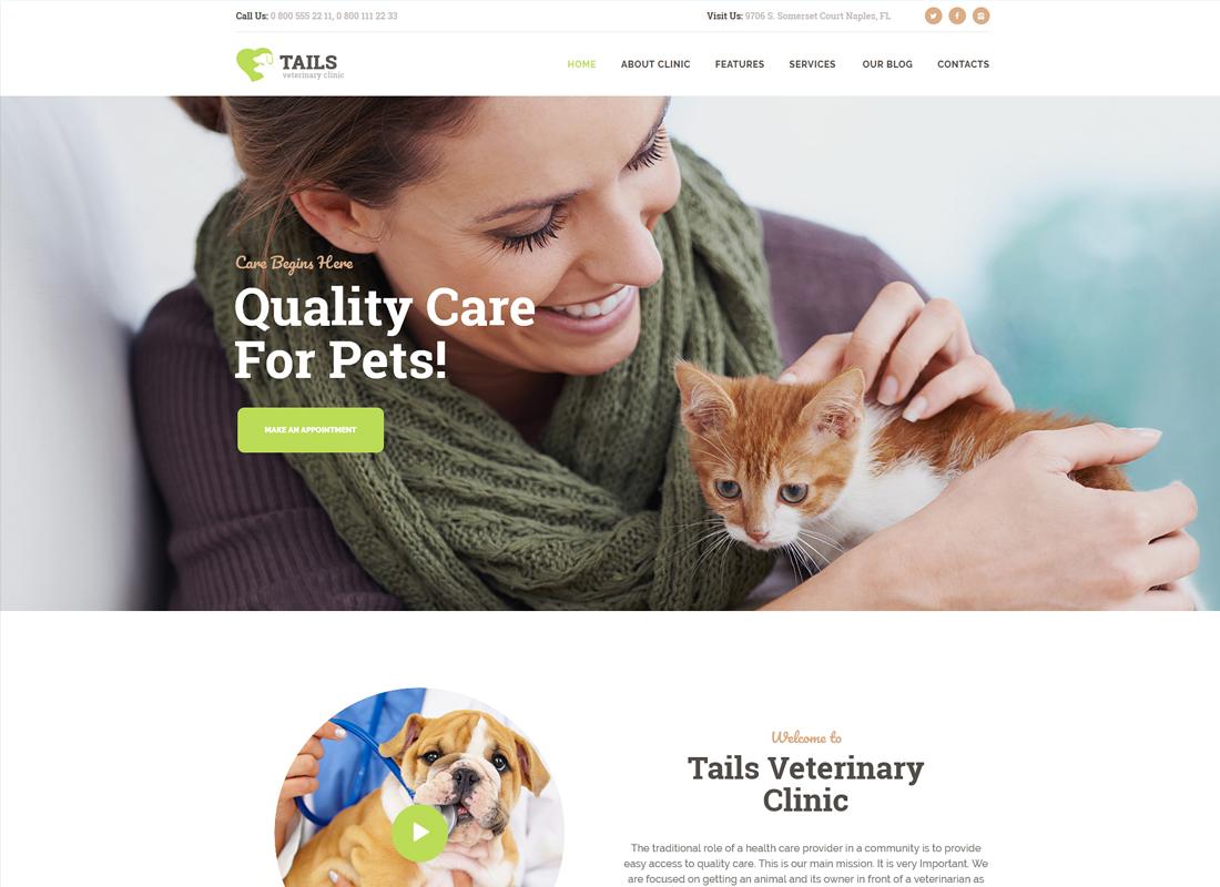 Tails | Veterinary Clinic, Pet Care & Animal WordPress Theme + Shop