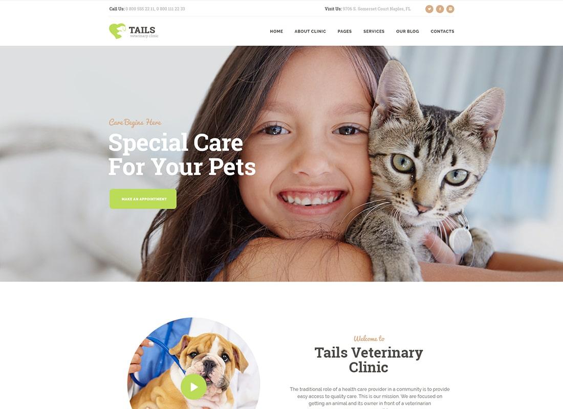 Tails | Veterinary Clinic, Pet Care & Shop WordPress Theme