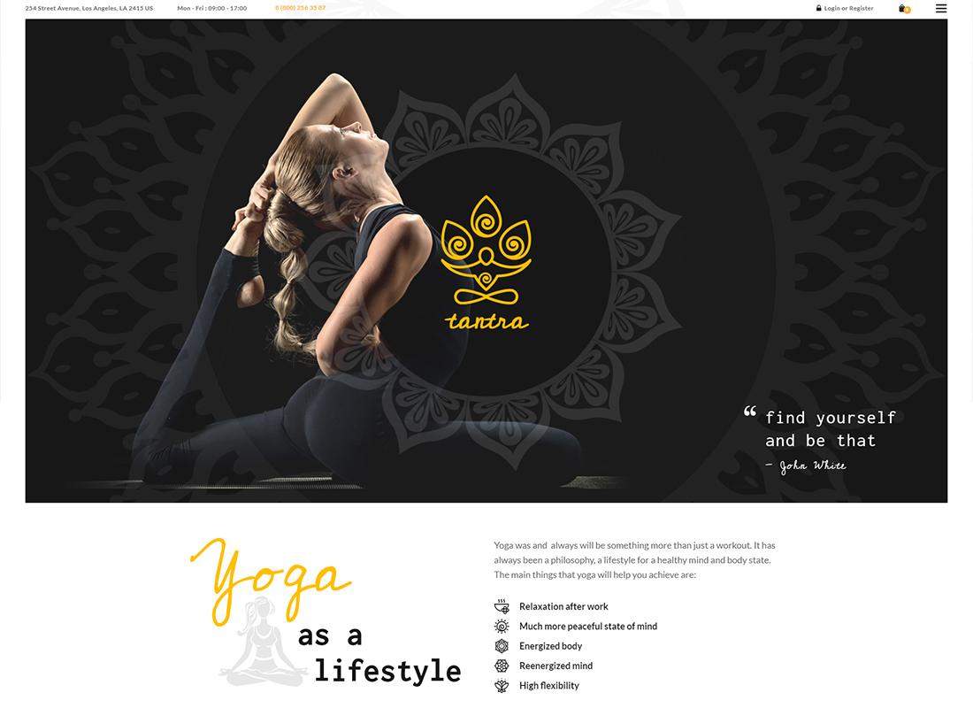 Tantra - A Yoga Studio and Fitness Club WordPress Theme